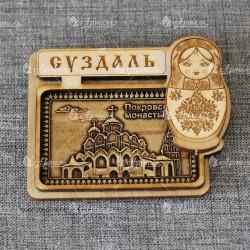 """Магнит из бересты прямоугольный матрешка """"Покровский монастырь"""""""