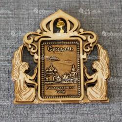 """Магнит из бересты прямоугольный ангелы с колокольчиком """"Рождественский собор"""""""