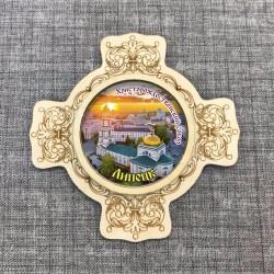 """Магнит гравированный с ламинацией крест """"Христорождественский собор"""" Липецк"""