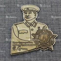 """Магнит из бересты резной с золотом """"Сталин"""""""