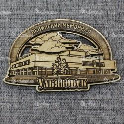 """Магнит из бересты резной с золотом """"Ленинский мемориал"""" Ульяновск"""