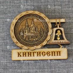 """Магнит из бересты с колоколом """"Екатерининский собор"""" Кингисепп"""