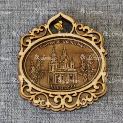 """Магнит из бересты овал гориз.с кол-м """"Екатерининский собор"""" Кингисепп"""