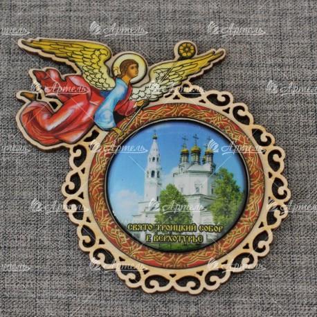 """Магнит со смолой (цвет) ангел""""""""Свято-Троицкий собор"""" Верхотурье"""