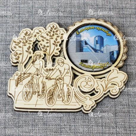 """Магнит грав со смолой велосипедисты """"Ельцин-центр"""" Екатеринбург"""