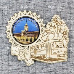 """Магнит грав со смолой трамвай """"Администрация"""" Екатеринбург"""