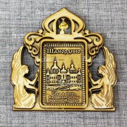 """Магнит из бересты прямоугольный ангелы с колокольчиком """"Храм в ч.Казанской иконы БМ"""""""