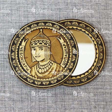 """Зеркало круглое """"Шупашкар"""" (орнамент 2) Чебоксары"""