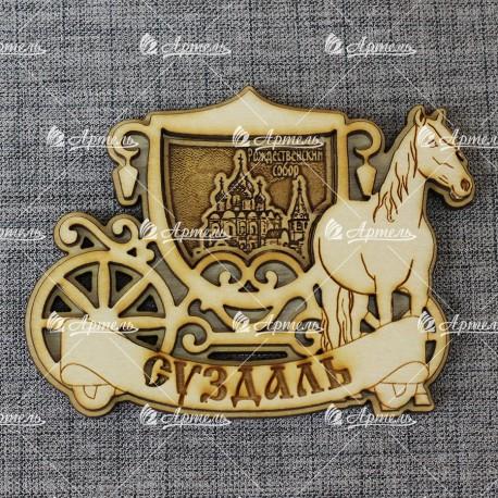 """Магнит из бересты карета с лошадью""""Рождественский собор"""". Суздаль"""