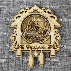 """Магнит из бересты часы""""Рождественский собор"""". Суздаль"""
