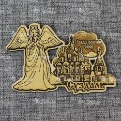 """Магнит из бересты резной с золотом ангел """"Рождественский собор"""" Суздаль"""