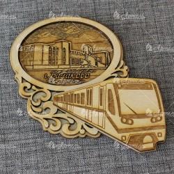 """Магнит из бересты овал поезд """"Вокзал"""" Балаково"""