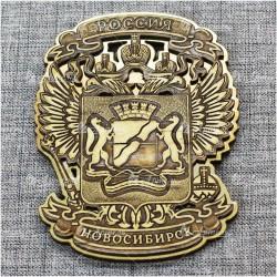 """Магнит из бересты резной c золотом """"Герб"""" Новосибирск"""