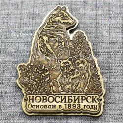 """Магнит из бересты резной c золотом """"Мишки"""" основан в 1893 году. Новосибирск"""