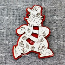 Магнит (красно-белый) Снеговик с шарфом