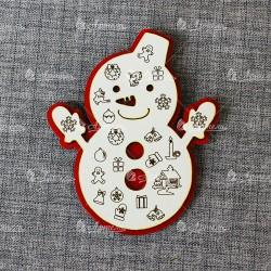 Магнит (красно-белый) Снеговик в варежках