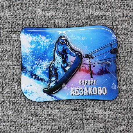 """Магнит со смолой """"Сноубордист с доской+подъемник ночной"""" Абзаково"""