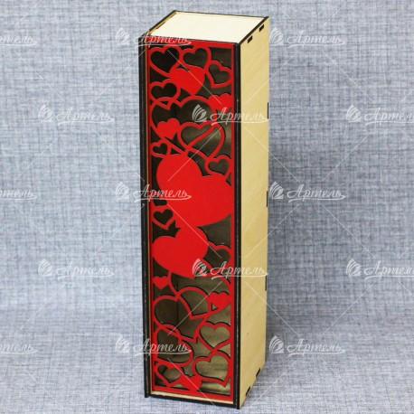 """Коробка под вино """"Сердечки красные"""""""