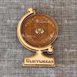 """Магнит из бересты глобус """"Герб+орнамент"""" Сыктывкар"""