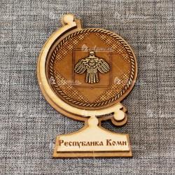 """Магнит из бересты глобус """"Герб+орнамент"""" Республика Коми"""