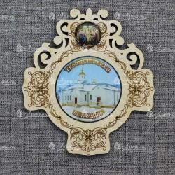"""Магнит со смолой крест+смола круг троица """"Троицкий храм"""" Шамордино"""
