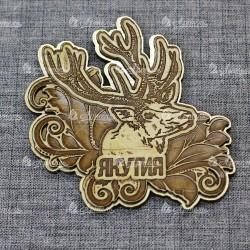 """Магнит из бересты резной с золотом """"Олень"""" Якутия"""