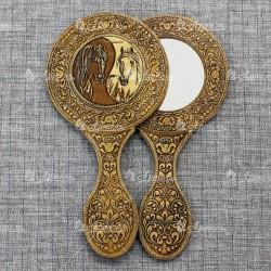 """Зеркало с ручкой с накладкой """"Лошади Инь и Ян"""""""