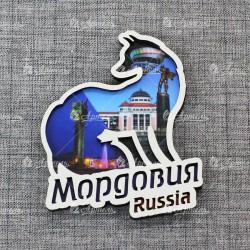 """Магнит лиса """"Коллаж"""" Мордовия"""
