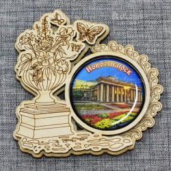 "Магнит грав со смолой ваза с цветами ""Театр"" Новосибирск"