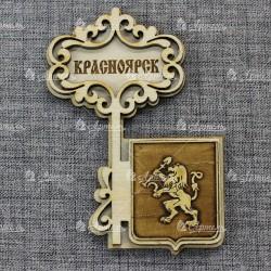 """Магнит из бересты ключ """"Герб"""" Красноярск"""