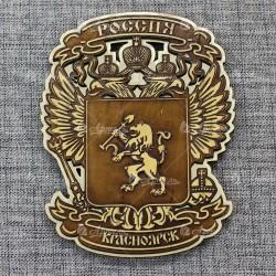 """Магнит из бересты резной с золотом """"Герб-орел"""" Красноярск"""