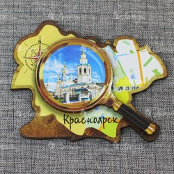 """Магнит цветной лупа """"Покровская церковь"""" Красноярск"""