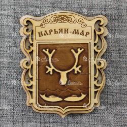 """Магнит из бересты """"Герб"""".Нарьян-Мар"""