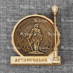 """Магнит из бересты фонарь """"Пётр 1"""" Архангельск"""