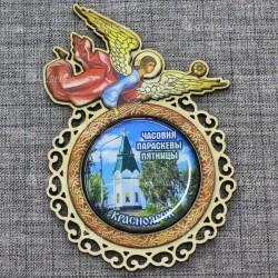 """Магнит со смолой (цвет) ангел """"Часовня"""" Красноярск"""