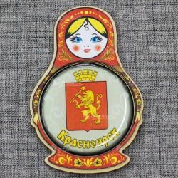 """Магнит со смолой (цвет) матрешка """"Герб"""" Красноярск"""