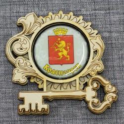 """Магнит грав со смолой ключ """"Герб"""" Красноярск"""