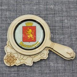 "Магнит грав со смолой лупа ""Герб"" Красноярск"