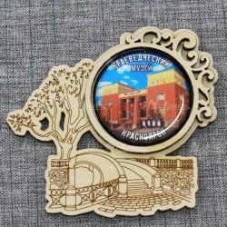 """Магнит грав со смолой плотинка """"Краеведческий музей"""" Красноярск"""