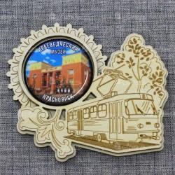 """Магнит грав со смолой трамвай """"Краеведческий музей"""" Красноярск"""