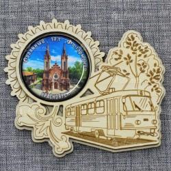 """Магнит грав со смолой трамвай """"Органный зал"""" Красноярск"""