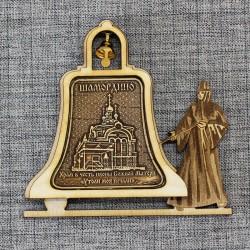 """Магнит из бересты монашка с колоколом """"Храм в ч иконы БМ""""Утоли моя печали Шамордино"""