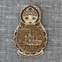 """Магнит с берестой и гравировкой матрешка """"ХВБ"""" Москва"""