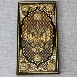 "Нарды ""Герб РФ"" с малахитом"