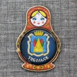"""Магнит со смолой (цвет) матрешка """"Герб"""" Тобольск"""