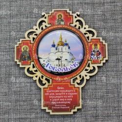 """Магнит со смолой (цвет) крест """"Софийский собор"""" Тобольск"""