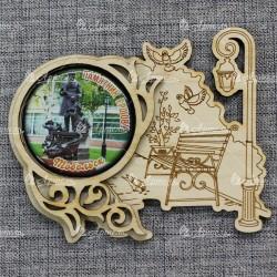 """Магнит грав со смолой скамья+фонарь """"Памятник Ершову"""" Тобольск"""