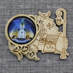"""Магнит грав со смолой скамья+фонарь """"Часовня"""" Новосибирск"""