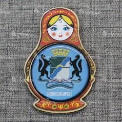 """Магнит со смолой (цвет) матрешка """"Герб"""" Новосибирск"""