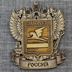 """Магнит с берестой и гравировкой Герб-орел """"Герб"""" Златоуст"""